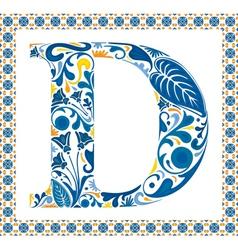 Blue letter D vector image