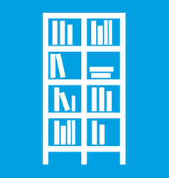 bookcase icon white vector image