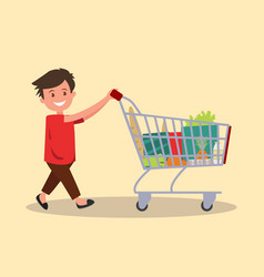 Boy with a grocery cart vector