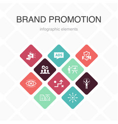 Brand promotion infographic 10 option color design vector