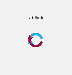 C- letter abstract icon and hands logo design vector