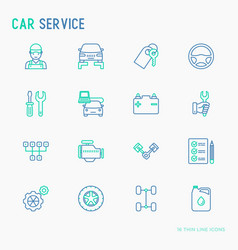 car service thin line icons set vector image
