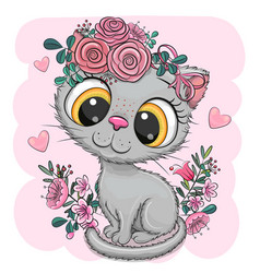 Cartoon british kitten with flowers on a white vector