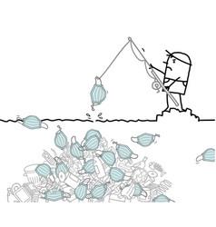 Cartoon man fishing over a big pile garbage vector