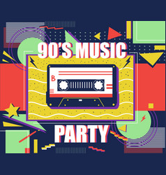 cassette retro poster 90s music abstract pop art vector image