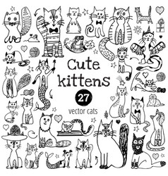 cat doodle set cute sketch animal cartoon funny vector image