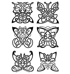 Celtic tattoos black butterflies vector