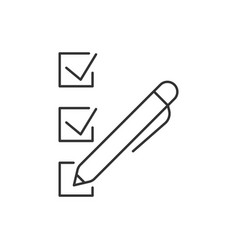 check marks with pen linear icon on white vector image