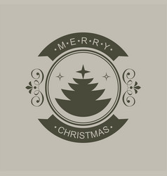 Christmas round sign of a black hue with vector