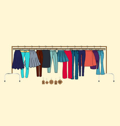 Clothes on hangers vector