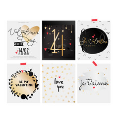 collection of valentine s day cards black and vector image