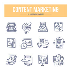 Content marketing doodle icons vector