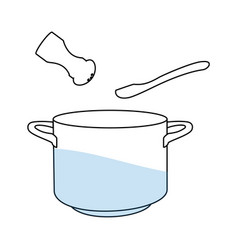 cooking pot pan hot soup salt and spoon line icon vector image