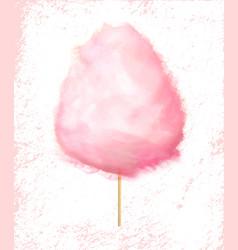 Cotton candy on stick fluffy sugar cloud dessert vector