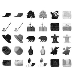 Country canada blackmonochrome icons in set vector