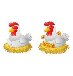 cute cartoon hen sitting in a nest vector image