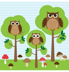 Cute family of owls in forest vector