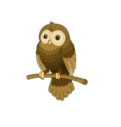 Cute hand-drawn grey owl vector image