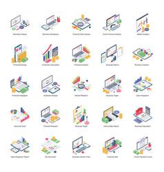 Data analytics pack isometric icons vector