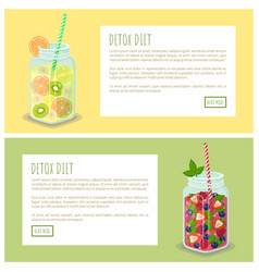 detox diet set of web pages posters drink in jars vector image