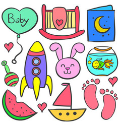 doodle of baby with cute element vector image