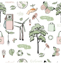 Doodles ecology and energy seamless pattern vector
