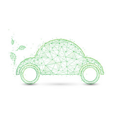 Eco friendly car and leaves ecology concept vector