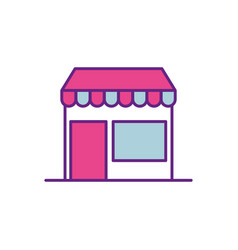 ecommerce building store digital online button vector image