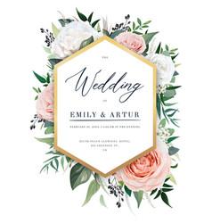elegant floral wedding invite card design blush vector image