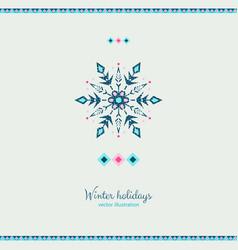ethnic style grunge style snowflake design card vector image