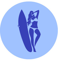 fashion girl surfer in beach vector image