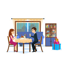 Festive dinner of couple on background of city vector