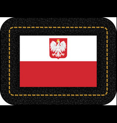 Flag of poland with eagle icon on black leather vector