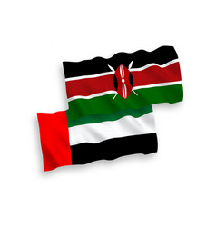 Flags kenya and united arab emirates on a white vector