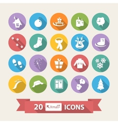 Flat Winter icons set with long shadow scarf vector image