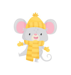 funny little mouse wearing knitted hat scarf and vector image