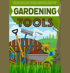 Gardening tools poster with horticulture equipment vector