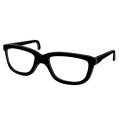 Glasses black outline icon vector