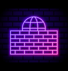 glowing neon line firewall security wall icon vector image