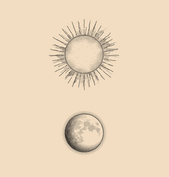 Graphic of dots sun and moon vector