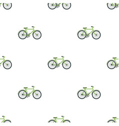 Green bicycle icon in cartoon style isolated on vector