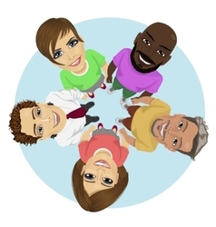 Group of multiracial young people in a circle vector