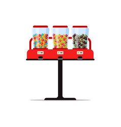 gumball or candies vending machine with colorful vector image