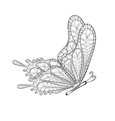 Hand drawn zentangle tribal flying butterfly for vector
