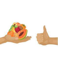 Hand giving fruits and hand holding thumb up for vector