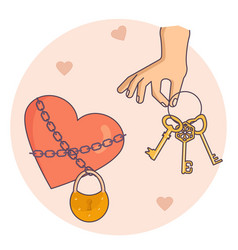 hand holding golden keys vector image