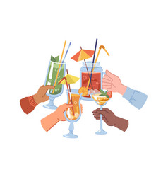 Hands holding cocktails alcoholic drinks cheers vector