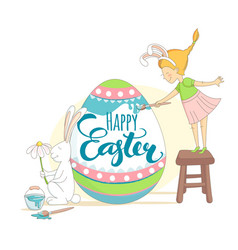 Happy easter greeting card girl and rabbit vector