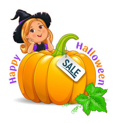 Happy halloween funny girl in hat with pumpkin vector