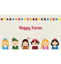 Happy jewish children in fancy dress enjoy purim vector